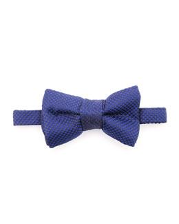 Micro-Check Bow Tie, Blue