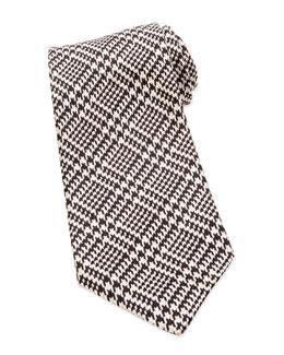 Houndstooth Jacquard Tie, Black/White