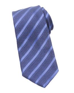 Diagonal-Striped Tie, Navy