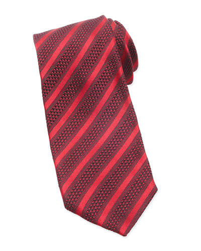 Diagonal-Striped Tie, Red