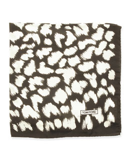 Animal-Print Pocket Square, Black/White