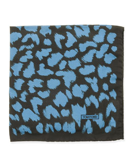 Animal-Print Pocket Square, Blue/Black