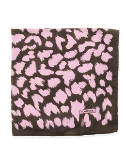Animal-Print Pocket Square, Purple/Black