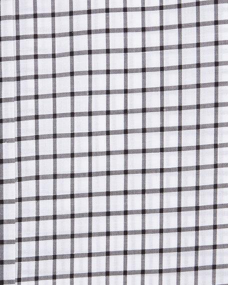 Windowpane-Pattern Silk Dress Shirt, Black/White