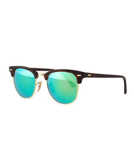 Clubmaster Half-Rimmed Sunglasses, Tortoise/Green