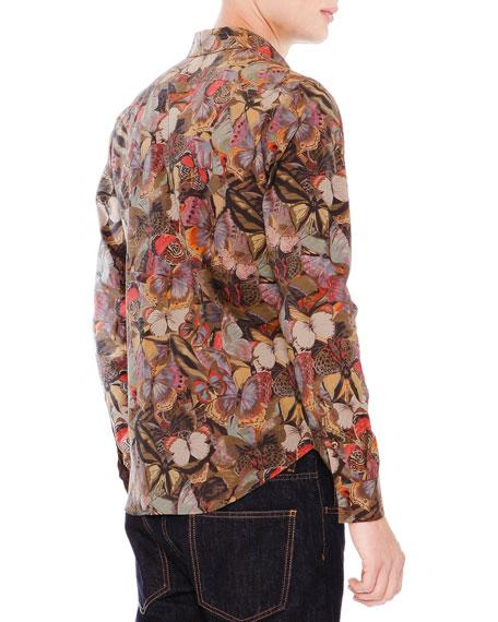 Multi Butterfly-Print Long Sleeve Shirt