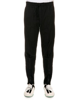 Tech-Fabric Biker Drawstring Sweatpants, Black