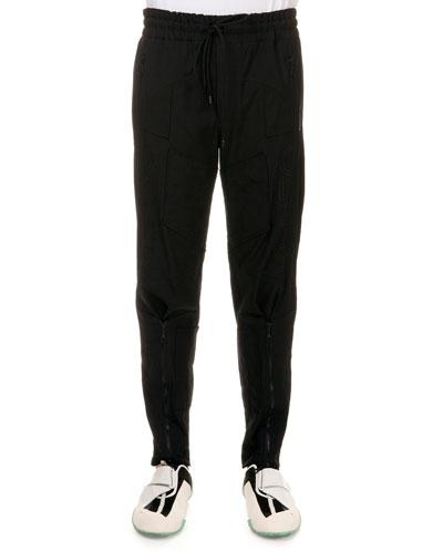 Tech-Fabric Biker Drawstring Sweatpants, Black