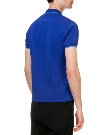 Tipped Tiger Short Sleeve Pique Polo, Blue