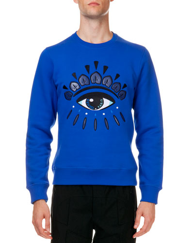 Logo Sweatshirt with Eye Embroidery, Blue