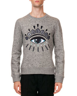 Logo Sweatshirt with Eye Embroidery, Gray