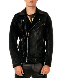 Coated Zip Biker Jacket, Black