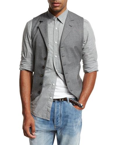 6-Button Wool Waistcoat, Gray