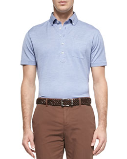Fine-Knit Oxford Polo, Light Blue