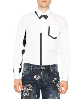 Long-Sleeve Poplin Shirt with Contrast Accents, White/Black