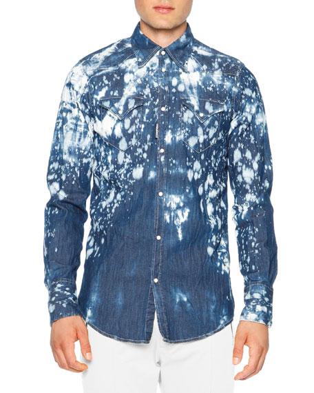 5650cf7ca4 Dsquared2 Bleached Western Denim Shirt