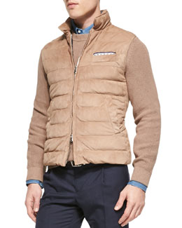 Suede Zip-Up Down Vest, Light Tan
