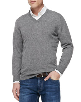 Cashmere V-Neck Pullover Sweater, Gray