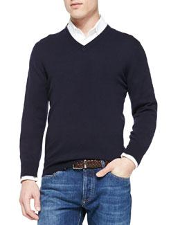 Cashmere V-Neck Pullover Sweater, Navy