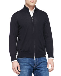 Fine-Gauge Full-Zip Sweater, Navy