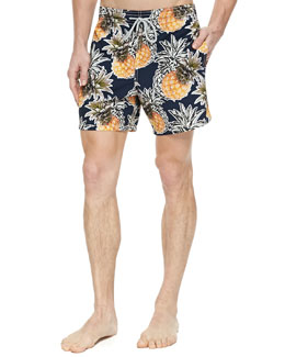 Moorea Pineapple-Print Swim Trunks