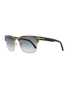 River Square Sunglasses, Green Horn