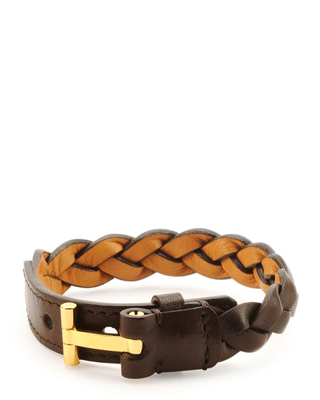 Nashville Men's Braided Leather Bracelet, Dark Brown