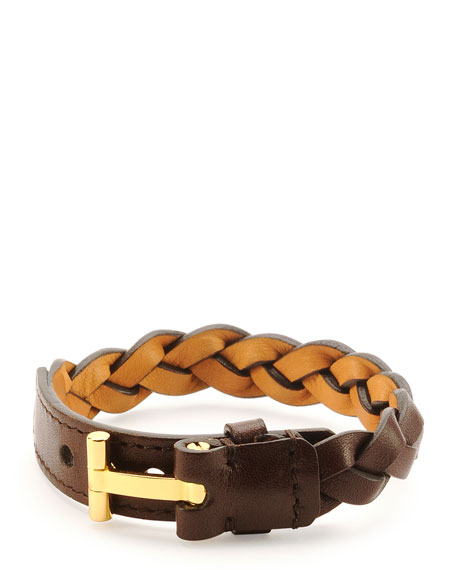 TOM FORD Nashville Men's Braided Leather Bracelet, Light