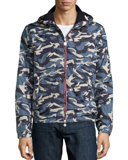 Camo Hooded Zip-Up Jacket, Blue/Gray