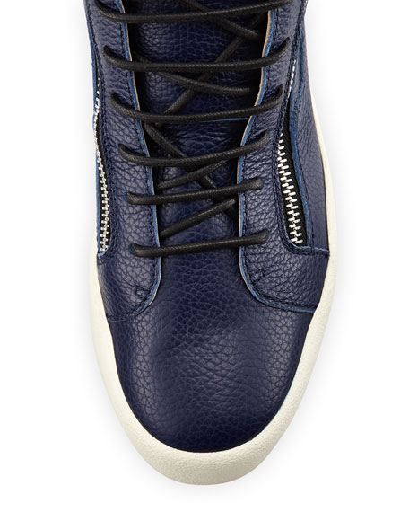 Men's Leather High-Top Sneaker, Blue