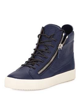 Men's Leather High-Top Sneaker, Blue