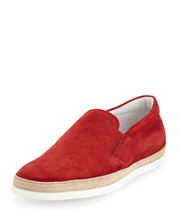 Suede Espadrille Slip-On Skate Sneaker, Red