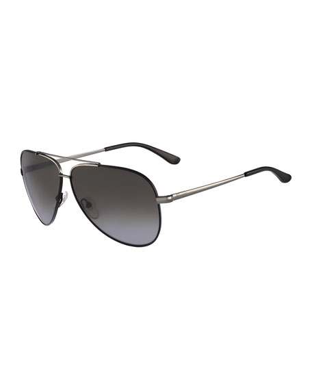 Salvatore Ferragamo Aviator Sunglasses, Gunmetal/Black