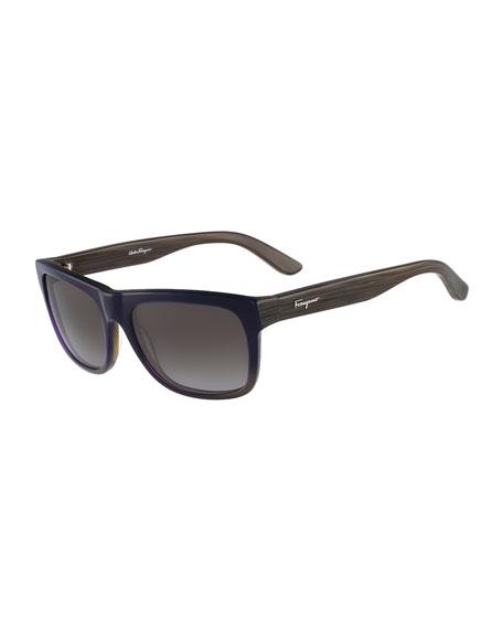 Square Plastic Sunglasses, Blue Gradient