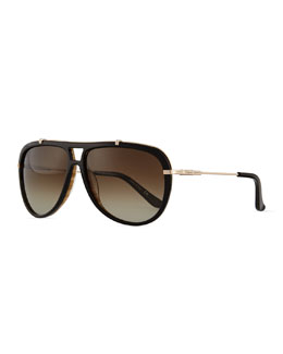 Gladiator Metal/Acetate Sunglasses, Black/Woodgrain