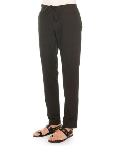Lightweight Drawstring Pants, Black