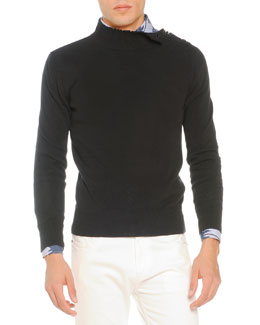 Knit Sweater with Shoulder Buttons, Black