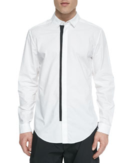 Contrast-Trim Button-Down Shirt, White