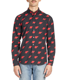 Heartbreaker-Print Sport Shirt, Red/Black