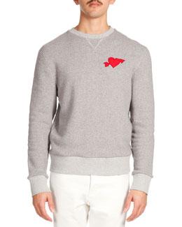Heartbreaker-Patch Crew Sweatshirt, Heather Gray