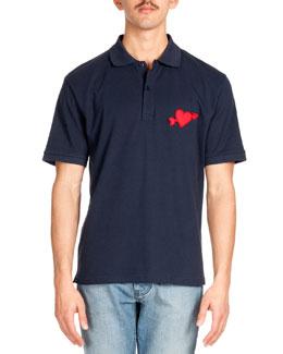 Heartbreaker Patch Short-Sleeve Polo, Navy