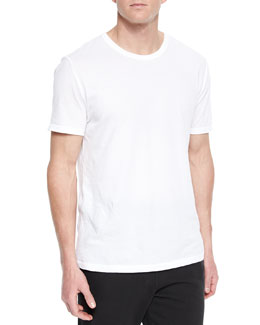 Basic Short-Sleeve Crewneck Tee, White