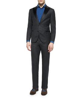 Peak-Lapel Wool Tuxedo, Dark Gray