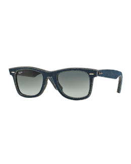 Men's Denim Wayfarer Sunglasses, Dark Blue