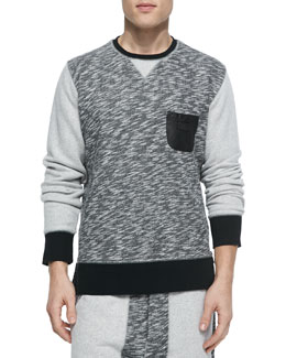 Devo Crew Sweatshirt with Leather Accents, Gray