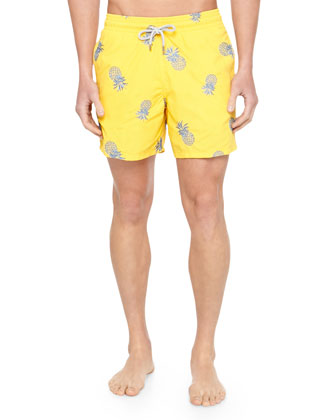 cce18f0da4 Vilebrequin Mistral Embroidered Pineapple Swim Trunks, Yellow on PopScreen