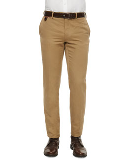 Linen-Cotton Blend Flat-Front Trousers, Brown