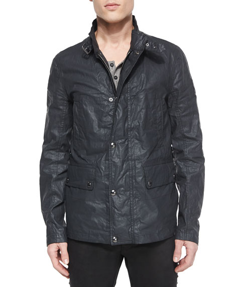 Gladstone Coated Zip-Up Jacket, Dark Gray