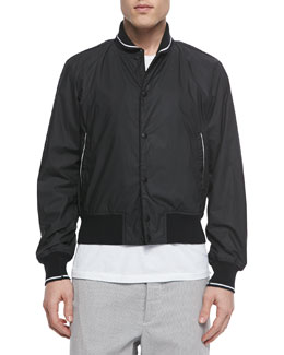Contrast-Trim Woven Tracker Jacket, Black