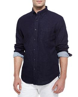 Yokohama Contrast-Cuff Sport Shirt, Indigo